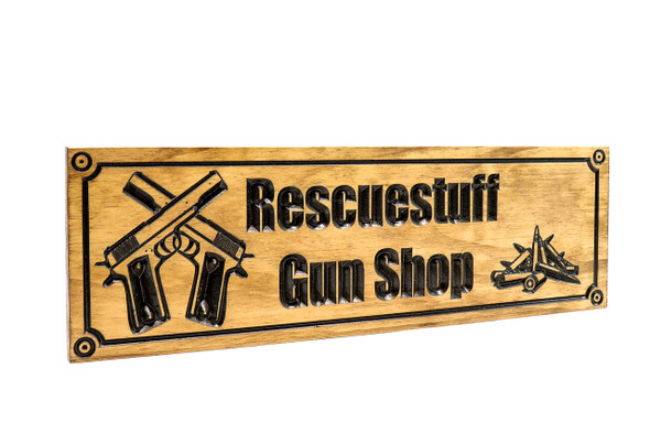 Ammo Shop Sign,Crossed pistols sign,Gun room sign,Man Cave Sign-Shop-Sign-Custom sign (CWD-572)
