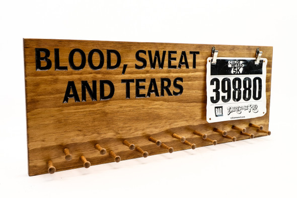 Blood,Sweat and Tears Marathon Medal display