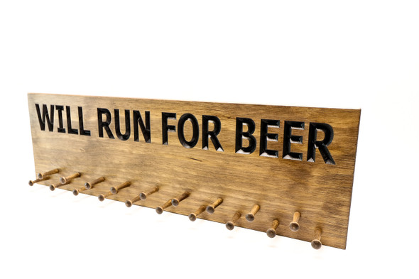 running medal holder will run for beer run display