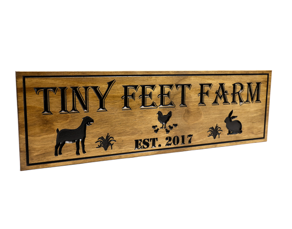 goat farm wooden sign