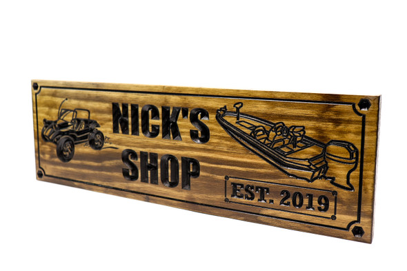 Bass boat shop sign