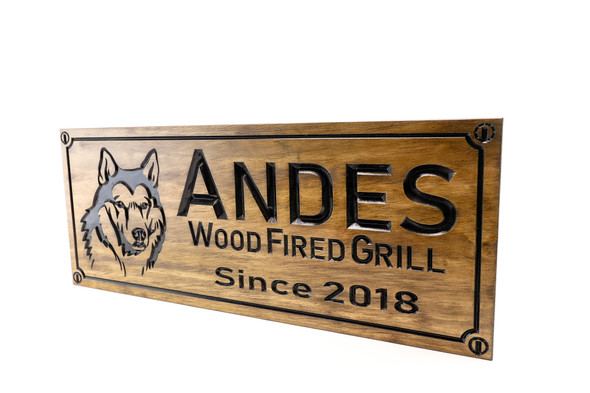 wooden grill sign