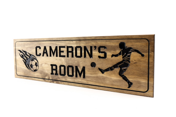 Soccer room sign Kids bedroom sports plaque