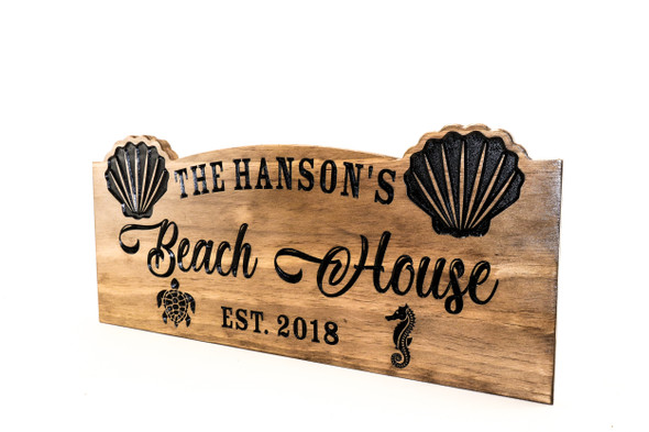 Beach House sign, beach decor, ocean theme, Family Sign, Wood Sign, seashell, sea turtle, sea horse-Anniversary Gift (CWD-741)