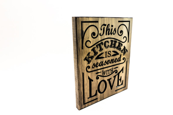 Kitchen Sign, Cooking Sign-seasoned with love, rustic kitchen decor