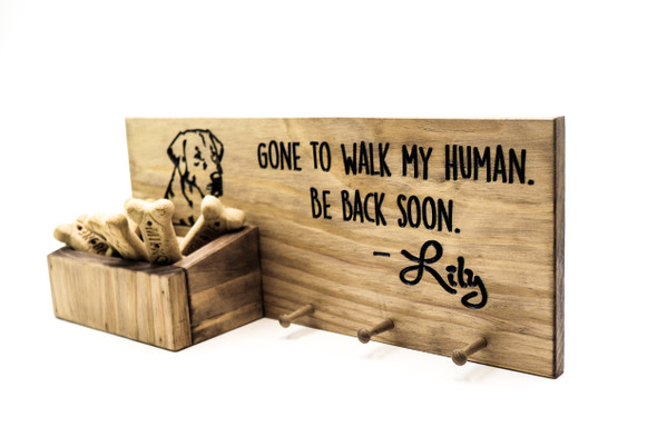 Dog Leash Holder, custom leash holder for wall, dog treat, personalized collar holder, wooden dog leash hook