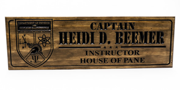 Department of Physics and Nuclear Engineering  United States Military Academy  West Point Wooden Sign