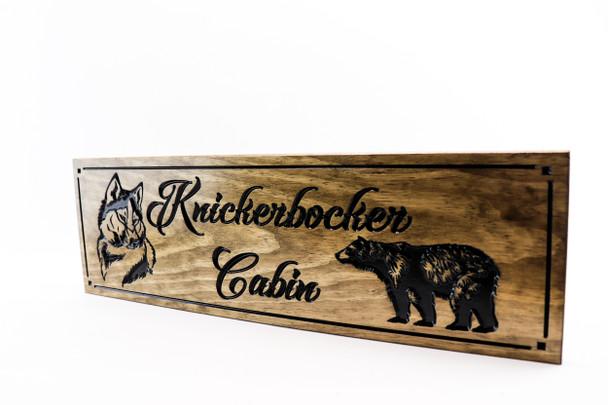 Cabin sign bear husky lake house