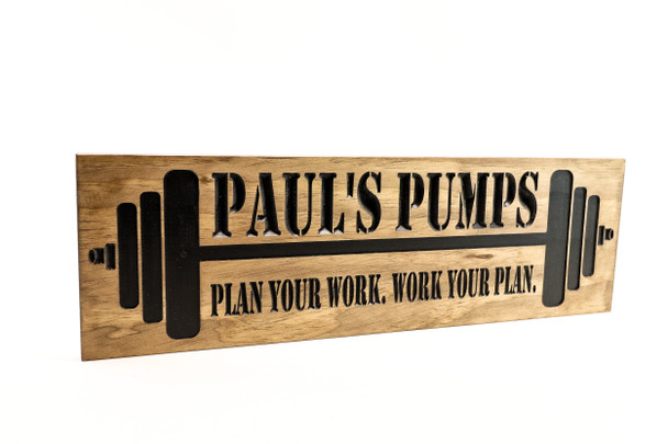 Home GYM Sign with barbells  Home GYM Sign with barbells