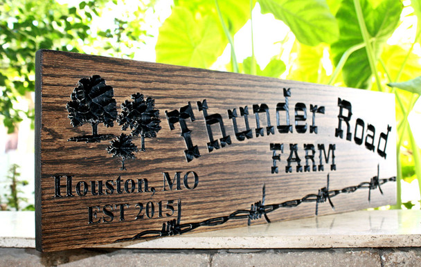 Ranch/Farm sign with barb wire