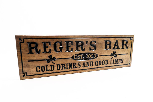 Home Bar  Sign with shamrock or other artwork, pub sign, bier stein, beer mug, piano bar, martini, whiskey, scotch glass, margarita