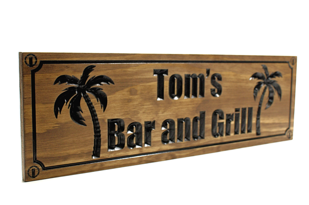 Palm tree bar and grill sign