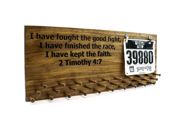 running medal display for your race bib and medals with bible verse