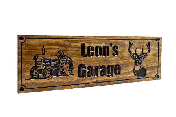 Farm-Ranch Sign with vintage tractor and deer head