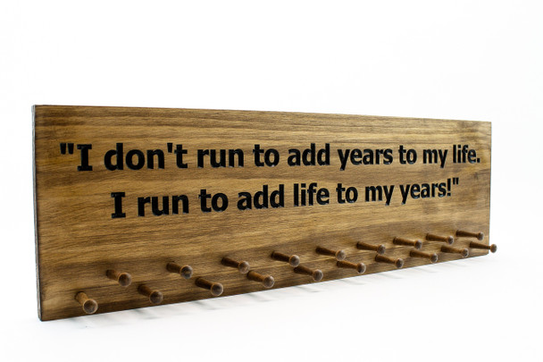 Running Medal Holder with Quote-Marathon Medal display 10, 19 or 30 PEGS - running medals holder - running medals