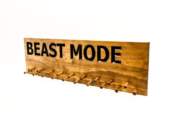 BEAST MODE Running Medal Holder Sign with 19 pegs
