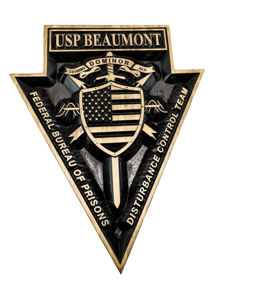 Federal  Prison Emblem with USP BEAUMONT - Federal Bureau of Prisons sign