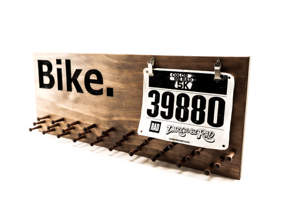 Bike Medal display 23x9 with 19 or 30 PEGS, bicycle race medals and cycling bibs holder-medals and race bibs hanger-Marathon
