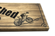 mountain biker on a custom wooden plaque