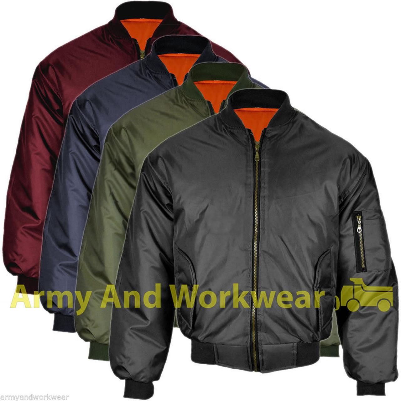 MA1 Biker Military Security Bomber Harrington Reversible Jacket Coat S-4XL