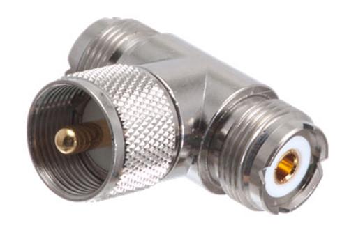 UHF Male to Double UHF Female T Adapter