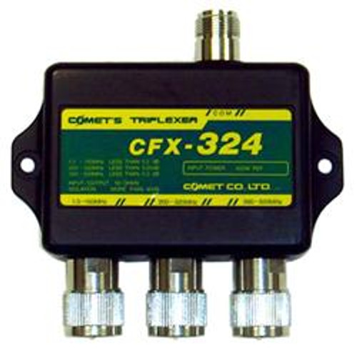 Comet CFX-324B - Triplexer, 1.3-150 MHz Low Pass, 200-300 MHz Mid Pass, 390-500 MHz High Pass, 40 dB Isolation