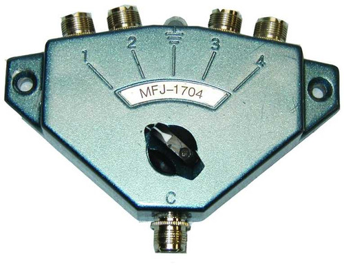 MFJ-1704 - Antenna Switch, Manual, 4-port, Center Ground Position, UHF Female, SO-239