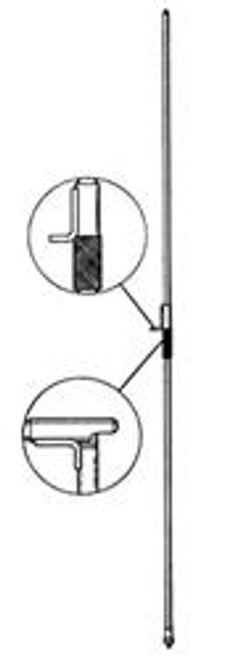 Hustler MO-2 - Antenna Mast, Mobile Antennas, HF, 3/8-24 in. Male Thread Ends, 54 in. Length, Folds 27 in. Above Base