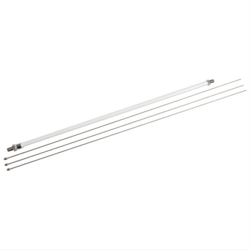 Hustler MO-4 - Antenna Mast, for Mobile Antennas, HF, 3/8-24 in. Male Thread Ends, 22 in. Length, Three Whip Rods