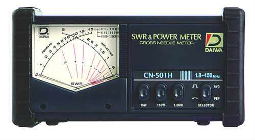 Daiwa CN-501H SWR/Wattmeter, HF/VHF, 1.8-150 MHz, 1,500 W Max., Cross Needle, UHF Female, SO-239, 13.8 Vdc