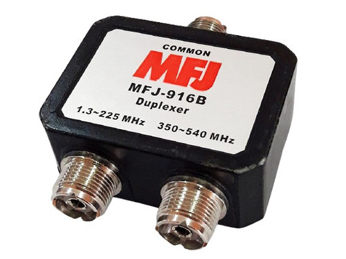 MFJ-916B - Duplexer, Indoor Use, 200 W, 1.6-225 MHz/350-540 MHz, SO-239 Connectors