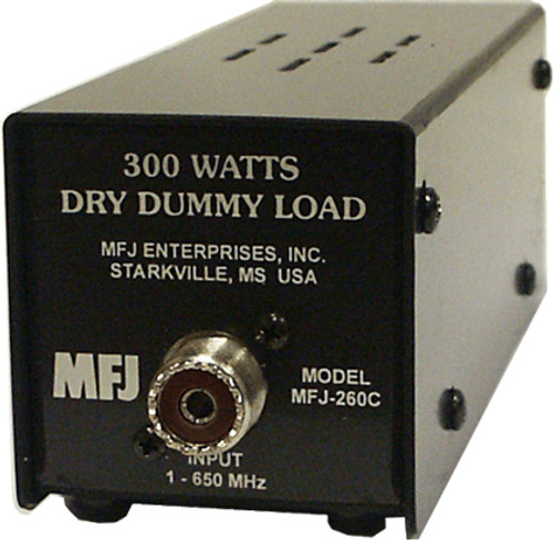 MFJ-260C Test Equipment, Dummy Load, Air Cooled, 300 Watts Intermittent Power Rating, 0-650 MHz Range