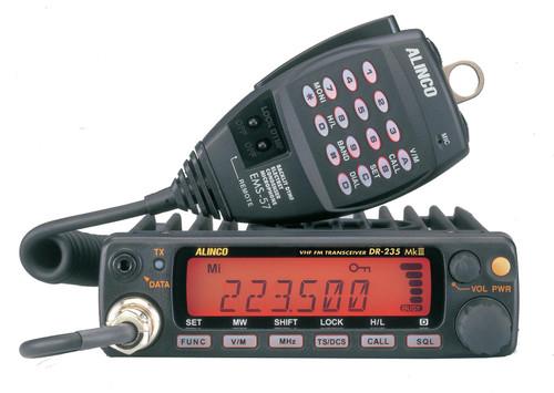 Alinco DR-235TMKIII Transceiver, Mobile, FM, 1.25M, 222-225 MHz, 25 W, LCD Display, Hand Mic, 13.8 Vdc