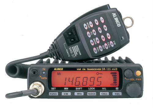 Alinco DR-135TMKIII Transceiver, Mobile, FM, 2 Meter, 50 W, 100 Memory Channels, 13.8 Vdc, LCD Display, Hand Mic
