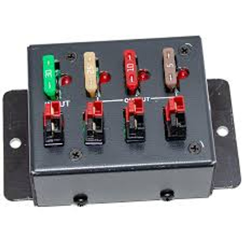 MFJ-1104 PowerPole Distribution Block, Four Connectors, One Input, Three Outputs, up to 30 A, Open Fuse Indicator