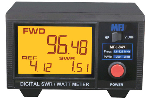 MFJ-849 SWR/Wattmeter, Digital, HF/VHF/UHF, 200W, 3.5 in. LCD Display