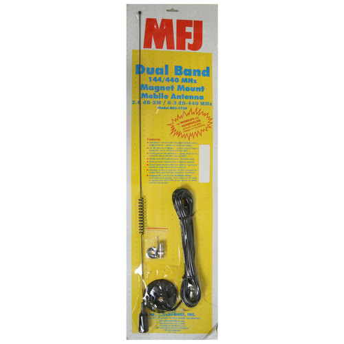 MFJ-1729 Antenna, Mobile, Dual-Band, VHF/UHF, 27.5 in. Height, BNC Adapter