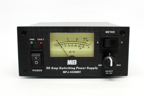 MFJ-4230MV Switching Power Supply, 30 A At 13.8 Vdc Peak Output, Front-Panel Adjustable from 4-16 V, Internal Fan
