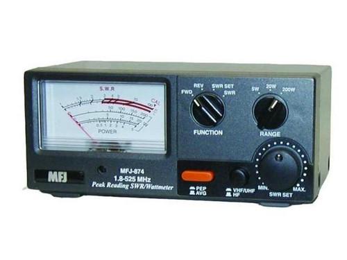 MFJ-874 Grandmaster SWR/Wattmeter, 200 W, 1.8-525 MHz, Sweep Needle, Peak Power Readout, SO-239, 12 Vdc