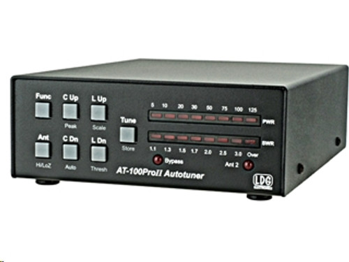 LDG AT-100Pro II - Antenna Tuner, Automatic, Desktop, 125 watts, 160-6 meters, Two-Position Ant. Switch, 11-16 Vdc, 500 mA