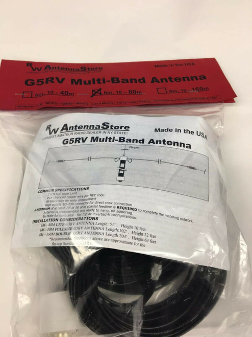RW Antennastore WORLDS BEST G5RV 6-80Meters Multi-Band Ham Wire Antenna
