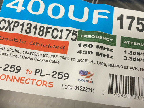 175 ft Cable x-perts LMR-400 Flexible Direct Burial Coax Cable
