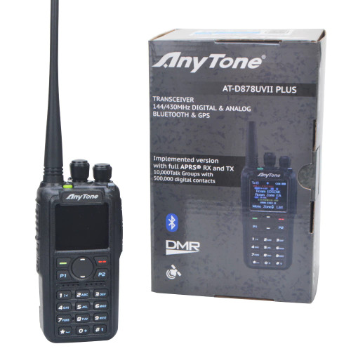 AnyTone AT-D878UVII Plus Dual Band Portable HT DMR w/ PC Cable/GPS/Bluetooth/APRS RX/TX