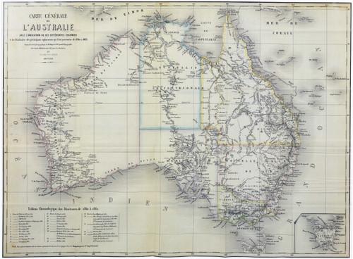 French Explorer's Map of Australia 1863