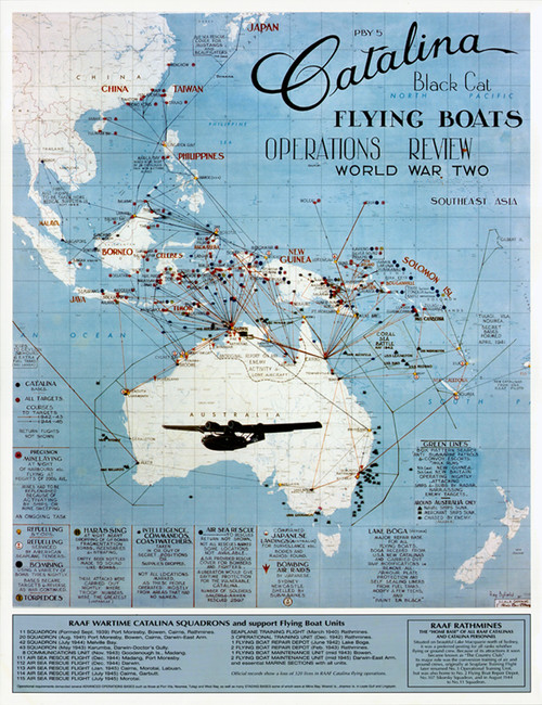 RAAF Catalina Flying Boats WW2 operations review 1944 Poster