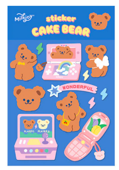Gamer Cake Bear Stickers