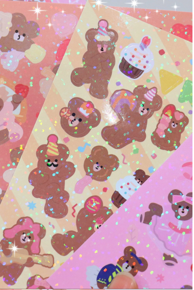 Glitter Party Bear Stickers
