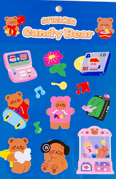 Jamming Out Bear Stickers
