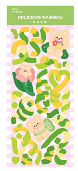 Green Confetti Bear Stickers