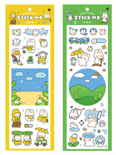 Bunny Playing Stickers